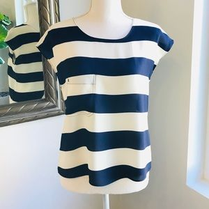 Tops - Striped Navy & Cream Blouse with Back Opening